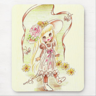 Cute Big Eyed Girl In Bonnet With Flowers Mouse Pad