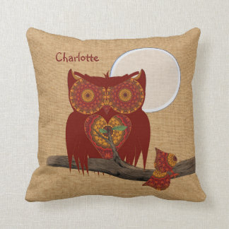 Cute Big Eyed Night Owl Personalized Pillows