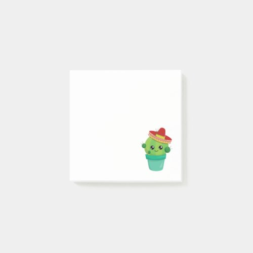 Cute Big_Eyed Smiling Cactus in Red Sombrero Post_it Notes