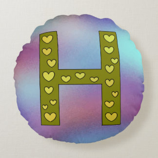 Cute Big Letter H Design Personalized Reversible Round Pillow