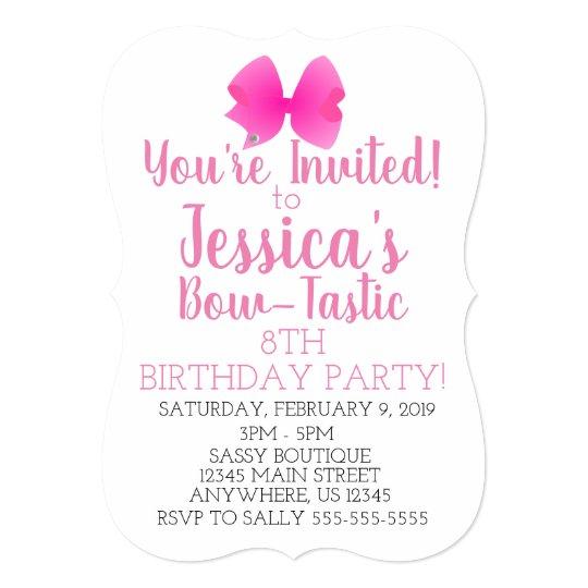 Cute Big Pink Girly Bow Tastic Birthday Party Invitation