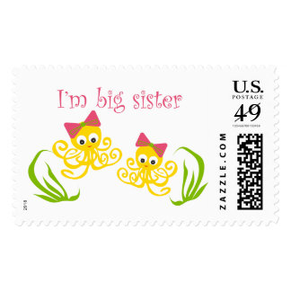 Cute big sister baby shower postage