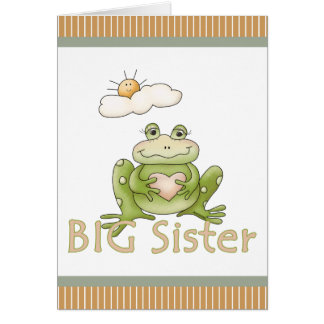Cute Big Sister Frog Personalized Card