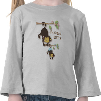 Cute Big Sister Monkey with Lil' Baby Brother T-shirt