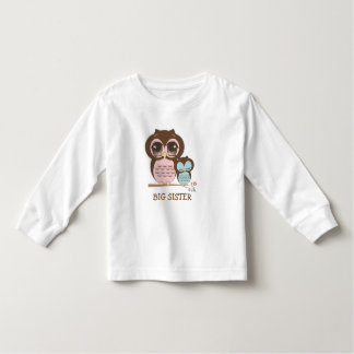 Cute Big Sister Owl with Sleepy Lil' Baby Brother Toddler T-shirt