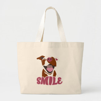 Cute Big Smiles Pitbull Large Tote Bag