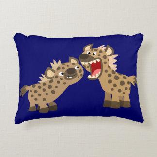 Cute Big-Teethed Cartoon Hyenas Accent Pillow