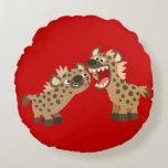 Cute Big-Teethed Cartoon Hyenas Round Pillow