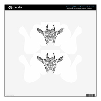 Cute Billy Goat Face Intricate Tattoo Art Skins For PS3 Controllers
