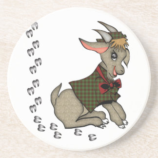 Cute Billy Goat with Bowtie Coaster