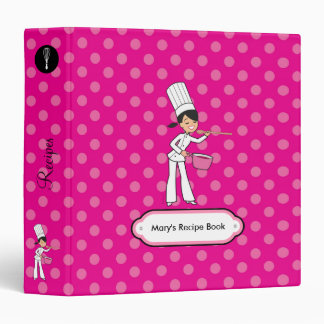 Cute Binder for Recipes with Girl Print