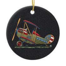 Cute Biplane Ceramic Ornament