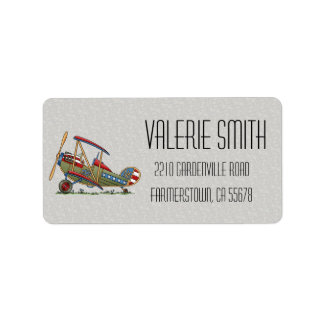 Cute Biplane Label