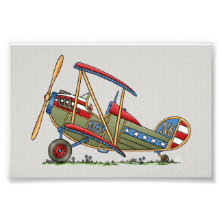 Cute Biplane Photo Print