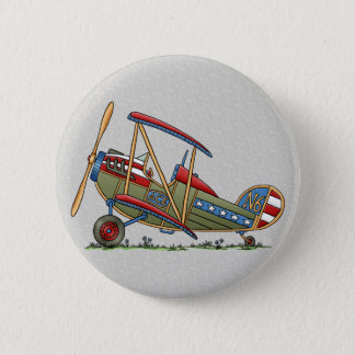 Cute Biplane Pinback Button