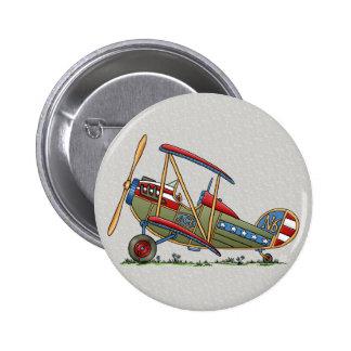 Cute Biplane Pinback Button