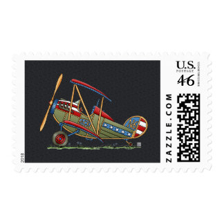 Cute Biplane Stamps