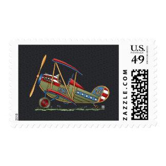 Cute Biplane Postage Stamp