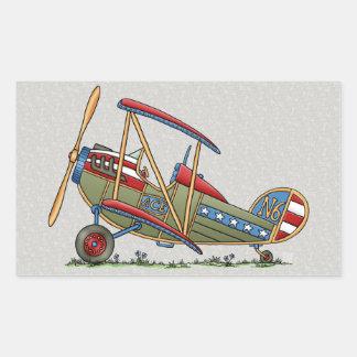 Cute Biplane Rectangular Sticker