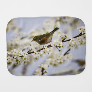 Cute Bird and Cherry Blossom Burp Cloth