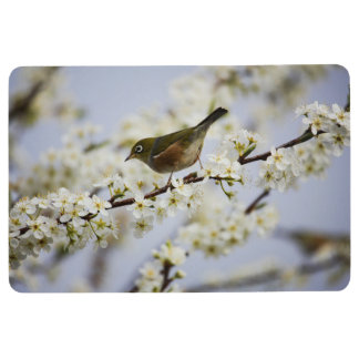 Cute Bird and Cherry Blossom Floor Mat