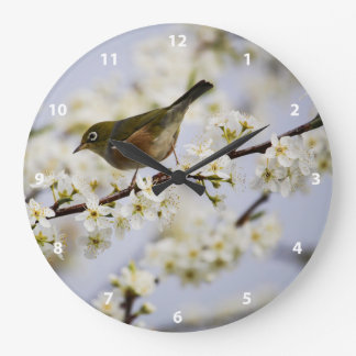 Cute Bird and Cherry Blossom Large Clock