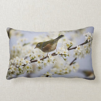 Cute Bird and Cherry Blossom Lumbar Pillow