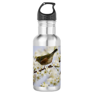 Cute Bird and Cherry Blossom Water Bottle
