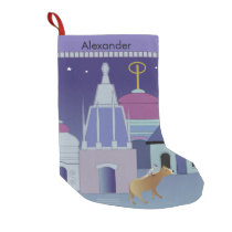 Cute bird and cow in city at night Xmas Small Christmas Stocking