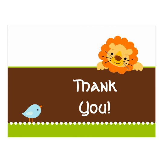 Cute bird and lion thank you postcard