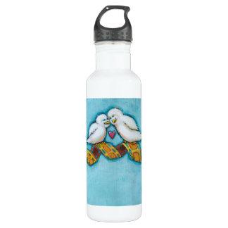 Cute bird art fun original painting film strip stainless steel water bottle