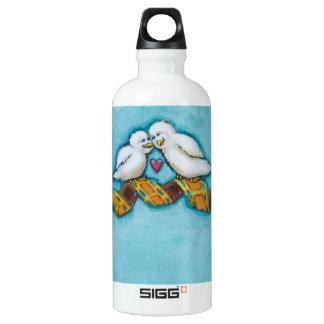 Cute bird art fun original painting film strip water bottle
