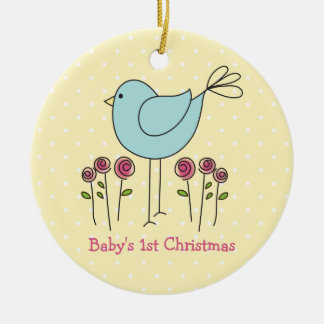 Cute Bird Baby's First Christmas Ornament