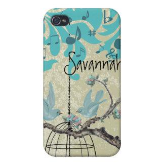 Cute Bird Black Bird Cage Aqua Damask iPhone iPhone 4 Cases