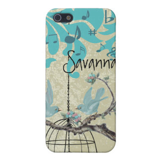 Cute Bird Black Bird Cage Aqua Damask iPhone iPhone SE/5/5s Case