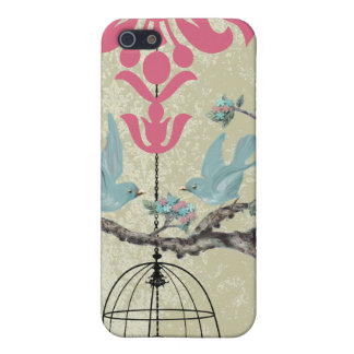 Cute Bird Black Bird Cage Pink Damask iPhone Cover For iPhone SE/5/5s