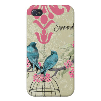 Cute Bird Black Bird Cage Pink Damask iPhone iPhone 4/4S Covers