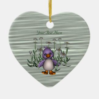 Cute Bird Daisy Flowers Customizable Ornament