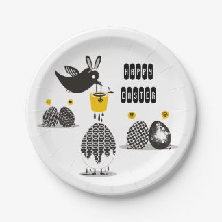 Cute bird Easter bunny ears painting eggs 7 Inch Paper Plate