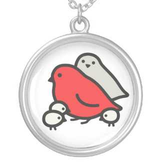 Cute Bird Family Round Pendant Necklace