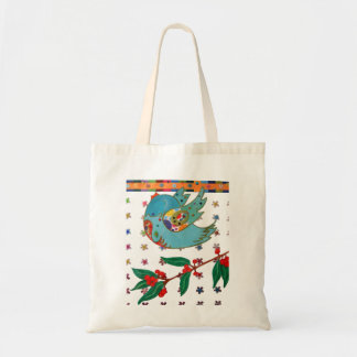 Cute bird flying and singing tote bags