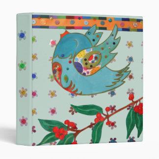Cute bird flying and singing binder