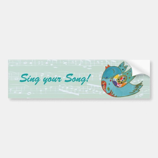 Cute bird flying and singing bumper stickers