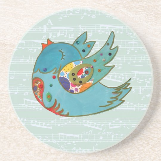 Cute bird flying and singing drink coaster