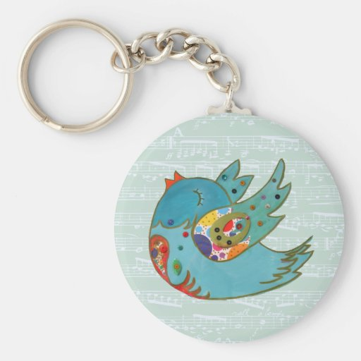 Cute bird flying and singing basic round button keychain
