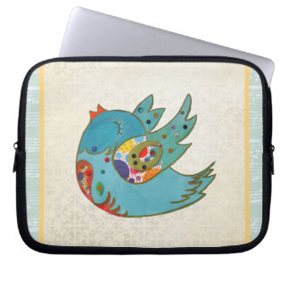 Cute bird flying and singing laptop sleeve