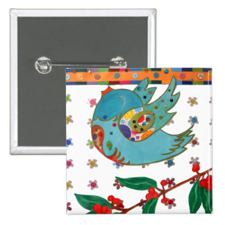 Cute bird flying and singing pinback buttons