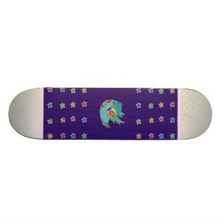 Cute bird flying and singing skateboard deck