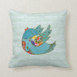 Cute bird flying and singing throw pillow