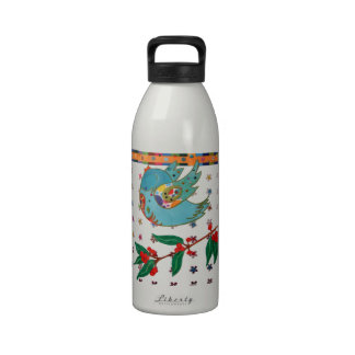 Cute bird flying and singing drinking bottle